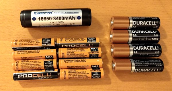 18650 battery compared to AA and AAA batteries with equivalent energy content