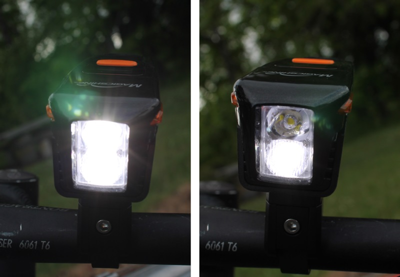 Side by side view of both LEDs and only the lower flood LED on the Eagle 600
